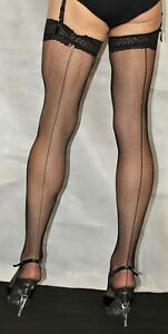 2-Pairs-Medium-Black-Seamed-LaceTop-Fine-Fishnet-Stockings-Suspender-Friendly