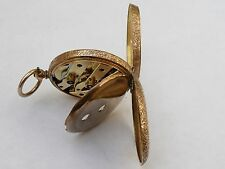 SUPER ANTIQUE 34MM 18K SOLID GOLD CHASED POCKET WATCH IN FWO SERVICED 31.7 GRAMS