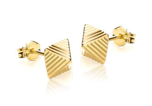 9ct Yellow Gold Diamond Cut Pyramid Stud Earrings New
