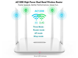 Details about AC1200 High Power WIFI Wireless Router Dual Band 2 4G/5GHz 4  Antennas, 4 Ports