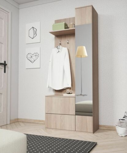 Hallway Set Bench Mirror Shoe Cabinet White Wood Effect Coat Hanger Organiser