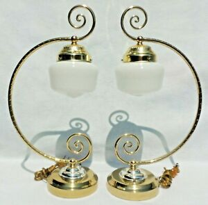 Pair-Ornate-Brass-amp-Silver-Milk-Glass-Shade-Hanging-Lantern-Table-Desk-Lamps
