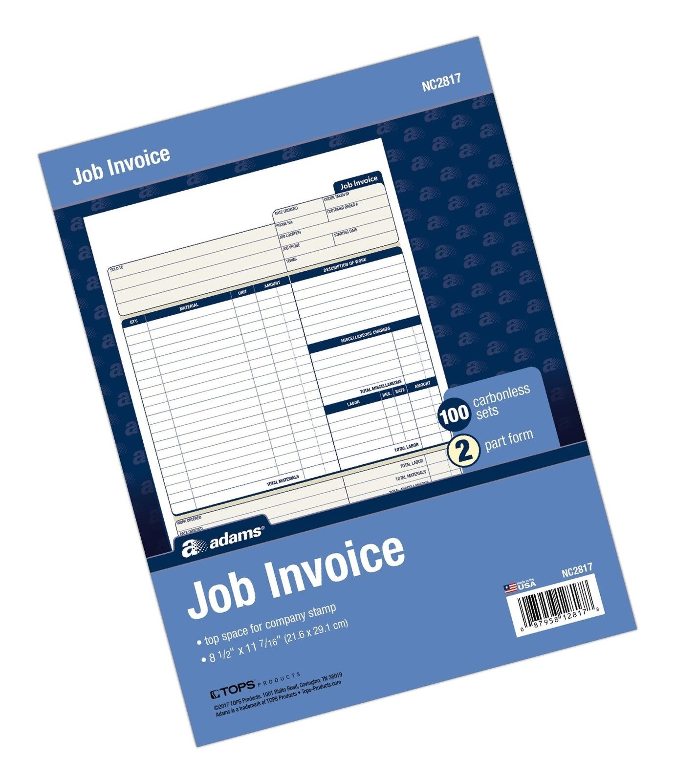 1InTheOffice Job Invoice Books 2 Part Carbonless 2 Pack 5 9//16 x 8 7//16