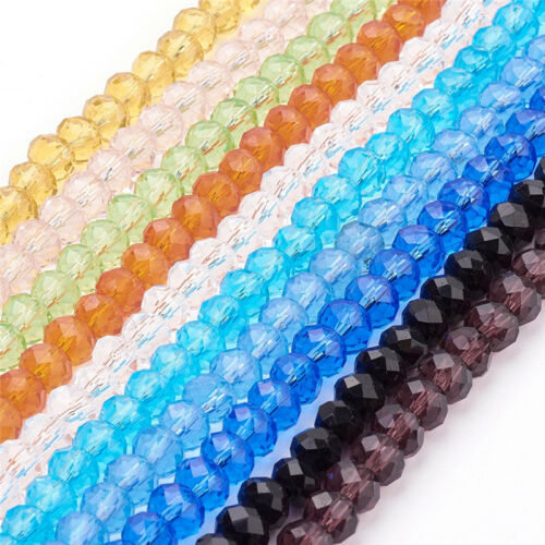 10 Strands Faceted Abacus Handmade Glass Beads Mixed 6x4mm about 100pcs//strand