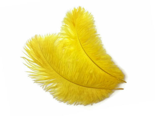 """14-17/"""" Yellow Ostrich Dyed Drab Body Feathers Wedding Halloween 10 Pieces"""
