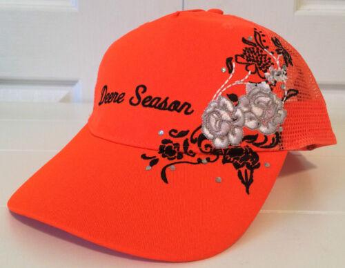 John Deere Ladies Blaze Orange Fabric /& Mesh w Flower Embroidery Deere Season