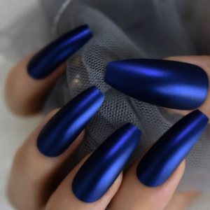Details About Long Coffin Matte Dark Blue Ballerina Press On 24 Full Cover Nail Tips Glue