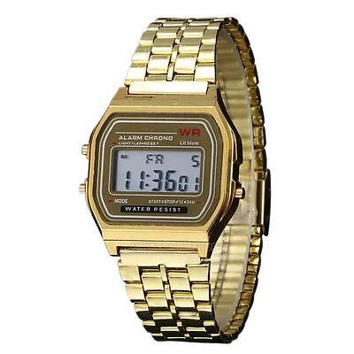 Men's Women's Date Alarm Stainless Steel Digital Sports Stopwatch Wrist Watch