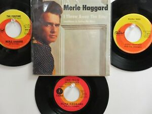 LOT OF 4 ' MERLE HAGGARD ' HIT 45's+1PS[I Threw Away The Rose] THE  60's!