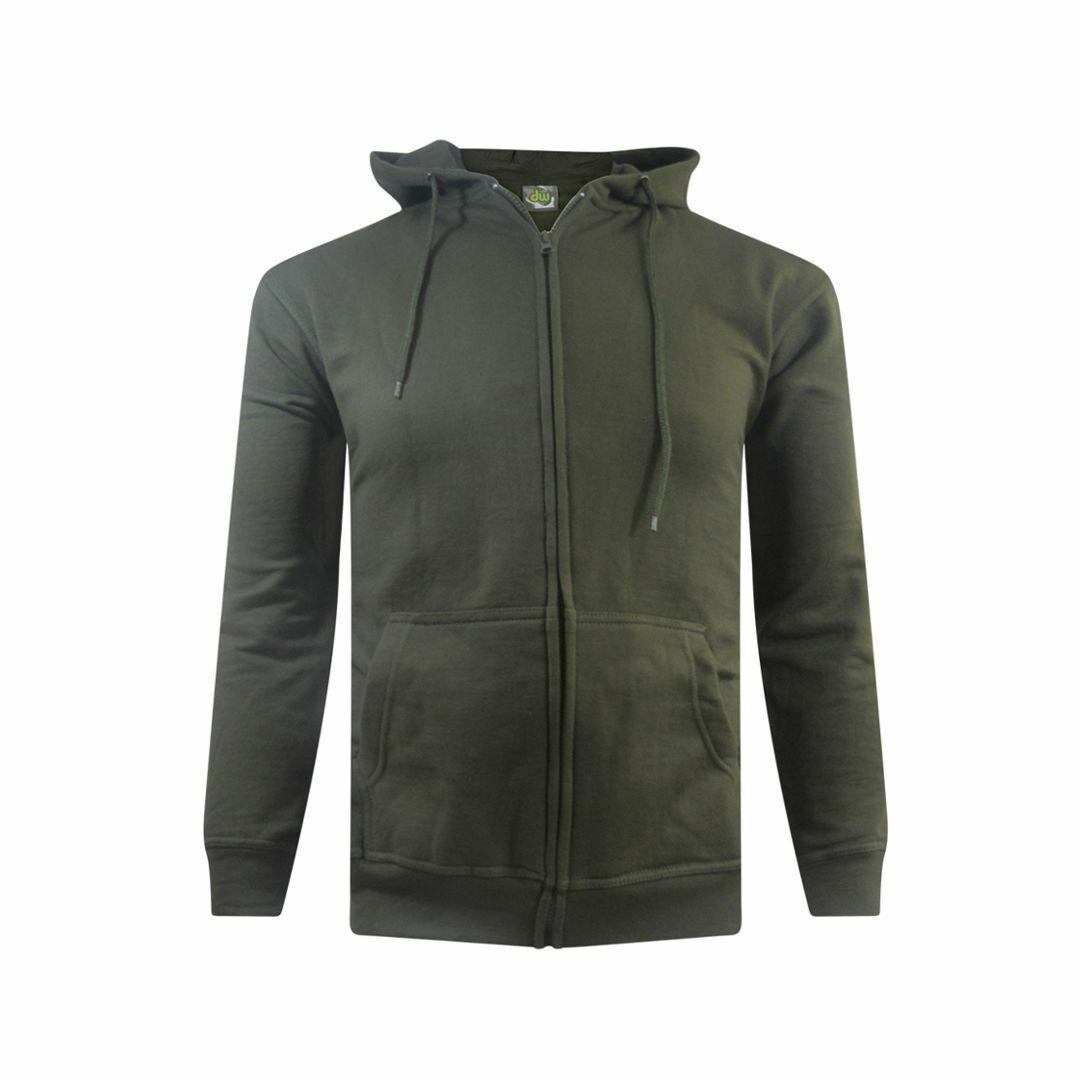 Mens Adults Full Zip Hoodie Jacket Olive Green Small - 5XL Kingsize Pockets Hood