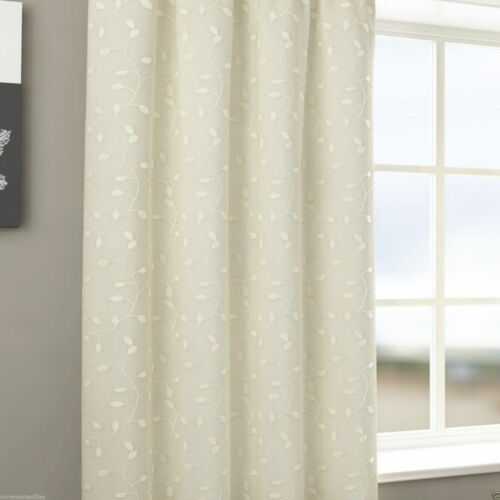 """Harrogate Leaf Embroidered Lined Voile 3/"""" Tape Top Pencil Pleat Curtains Pair"""