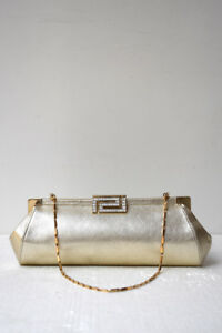 bb51cca6ac Details about VERSACE Metallic Champagne Gold Leather Diamante Clasp  Evening Bag Clutch