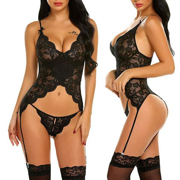Damen Unterwäsche String Sexy Dessous Reizwäsche Schwarz Spitze Nachtwäsche S-XL