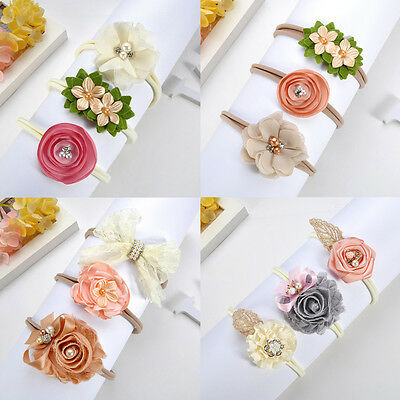 Beauty 3Pcs Baby Girls Infant Toddler Flower Bow Headband Hair Band Accessories\