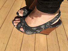 Women's UGG Blue Platform Wedges Hazel Denim Slingback Sandals Shoes Sz 5