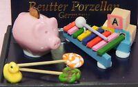 Dollhouse Miniature Toy Piggy Bank Duck Blocks Xylophone Set Reutter Minis 1:12