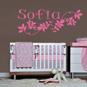 Wall decal sofia name inscription word baby girl petal for Baby name nursery decoration