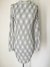 Urban Outfitters Cocktail Club Dress White Black Bodycon Sexy Long Sleeve Small