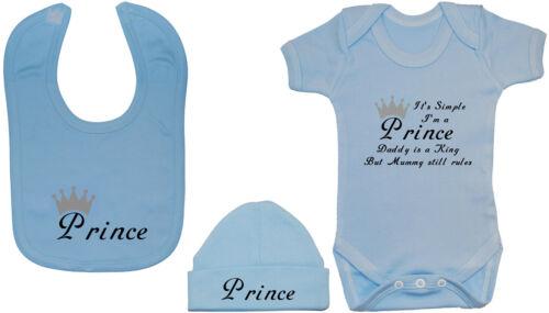 feeding Bib /& Chapeau//Bonnet NB-12M Garçon Drôle Prince Baby Grow//body//Ange//T-shirt