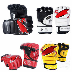 Boxing-Gloves-MMA-UFC-Sparring-Grappling-Fight-Training-Punch-Bag-Mitts-Leather