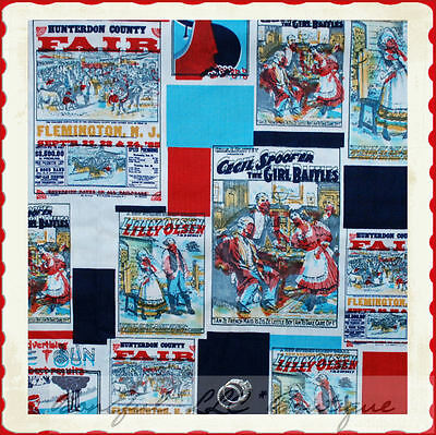 BonEful Fabric FQ Cotton America Red White Blue NJ State Fair Circus VTG Antique