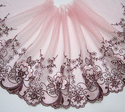 "6.5""*1.65yards Embroidered Floral Baby Pink Tulle Lace Trim Sewing/Craft"