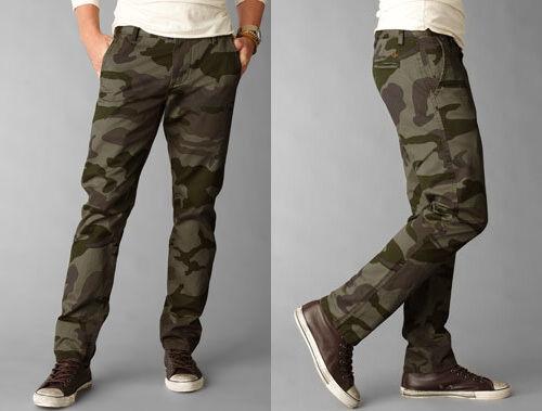 Dockers Pants Slim Fit Alpha Khaki Camo tapered olive cotton CHINOS MEN 34 29
