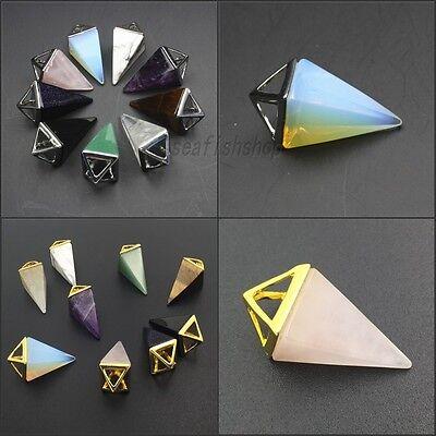 Amethyst Crystal Tiger Eye Onyx Pyramid Pointed Reiki Chakra Silver Gold Pendant
