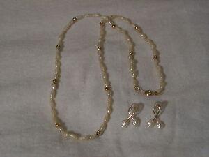 ...14k Gold Beads,Freshwater Pearls Necklace & Pierced Earrings...