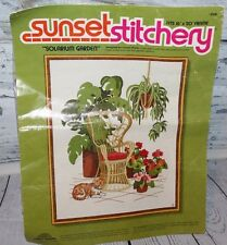Sunset Stitchery Solarium Garden Cat 1977 Needlepoint Set Crewel Kit Vintage
