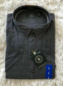 Mens Crosshatch Short Sleeve Button Down Solid Shirt G.H Bass /& Co