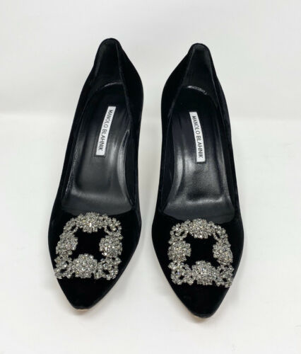 Manolo Blahnik Black Velvet Hangisi Crystal Heels
