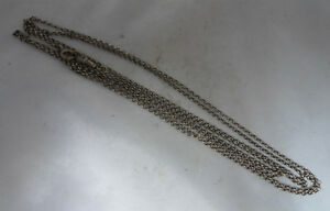 Victorian-Silver-Guard-Muff-Belcher-Link-Chain-59-Inches-x-1mm-13g-A70017