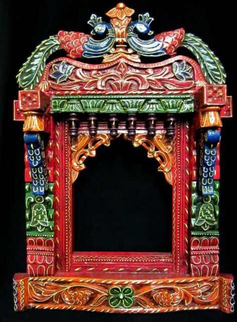 Indian Rajasthani Jharokha Hand Carved Colorful Painted Decorative Wooden Decors