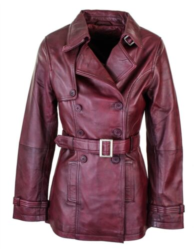 Women/'s Burgundy Superior Leather Biker Jacket Coat Vintage Retro Design