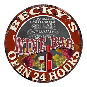 CWWB-0287-BECKY-039-S-WINE-BAR-OPEN-24-HOURS-Chic-Tin-Sign-Decor-Gift-Ideas