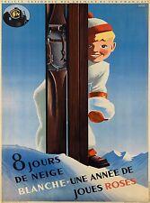 8 Jours de neige Blanche Ski France French Vintage Travel Advertisement Poster