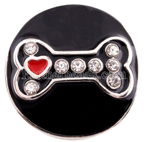 Silver Black Red Heart Dog Bone Rhinestone 20mm Snap For Ginger Snaps