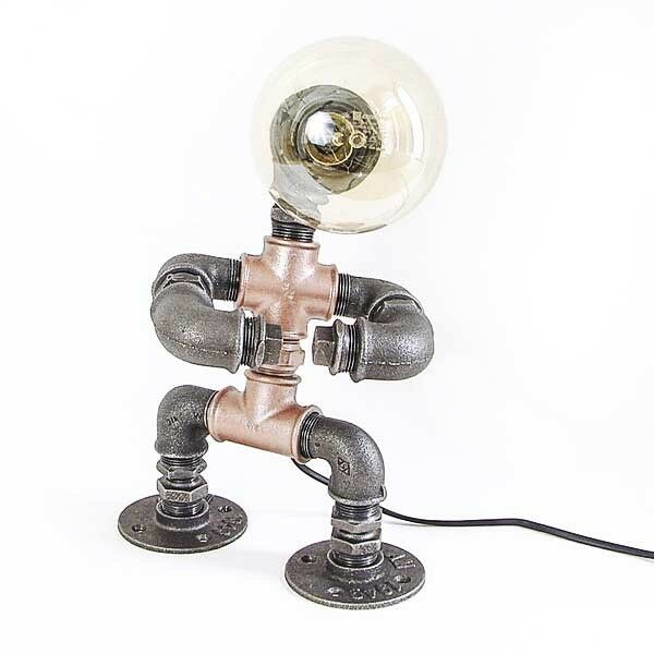 Vintage Industrial Steampunk Pipe Robot Table Desk Lamp Study Office Edison Bulb
