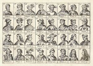 Antique-engraving-No-title-Kings-of-France-32-portraits-of