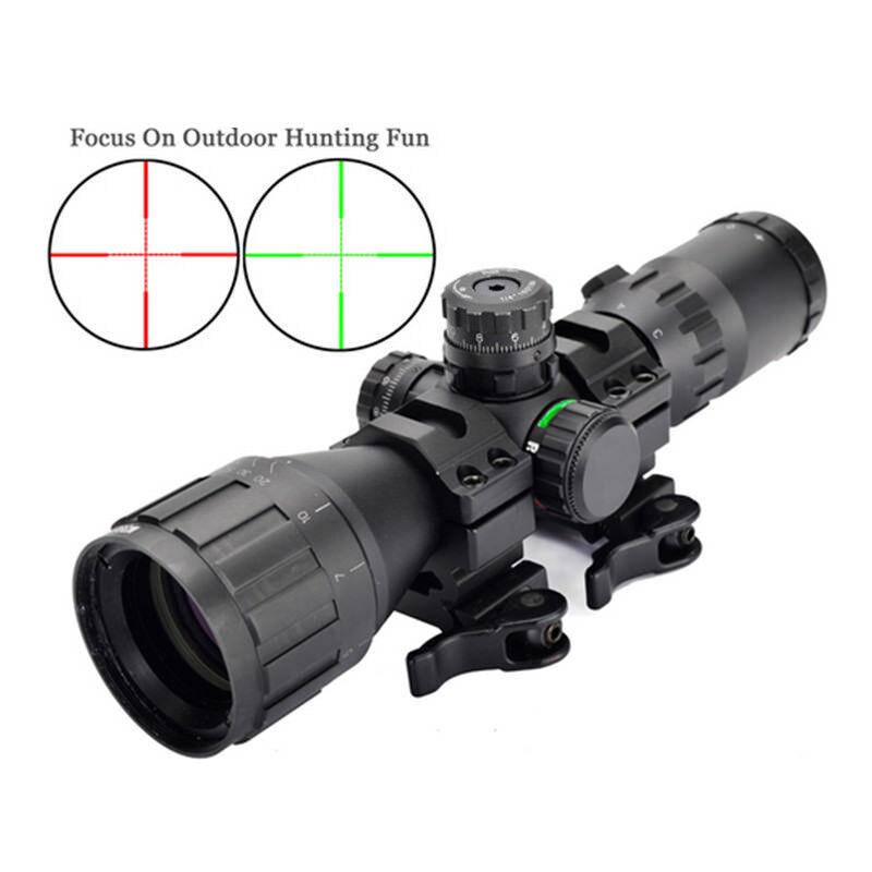 Alcance táctico 3-9x32 Rojo Azul Mil-Dot Mira para rifle compacto con Cortina de Sun