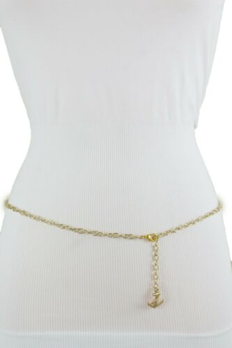 Women Skinny Waistband Cute Belt Gold Metal Chain Links Anchor Charm Size M L XL