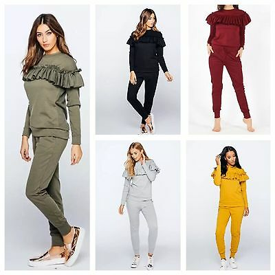 New Womens Ruffle Frill Top Tracksuit Ladies Casual Lounge Bottoms Set