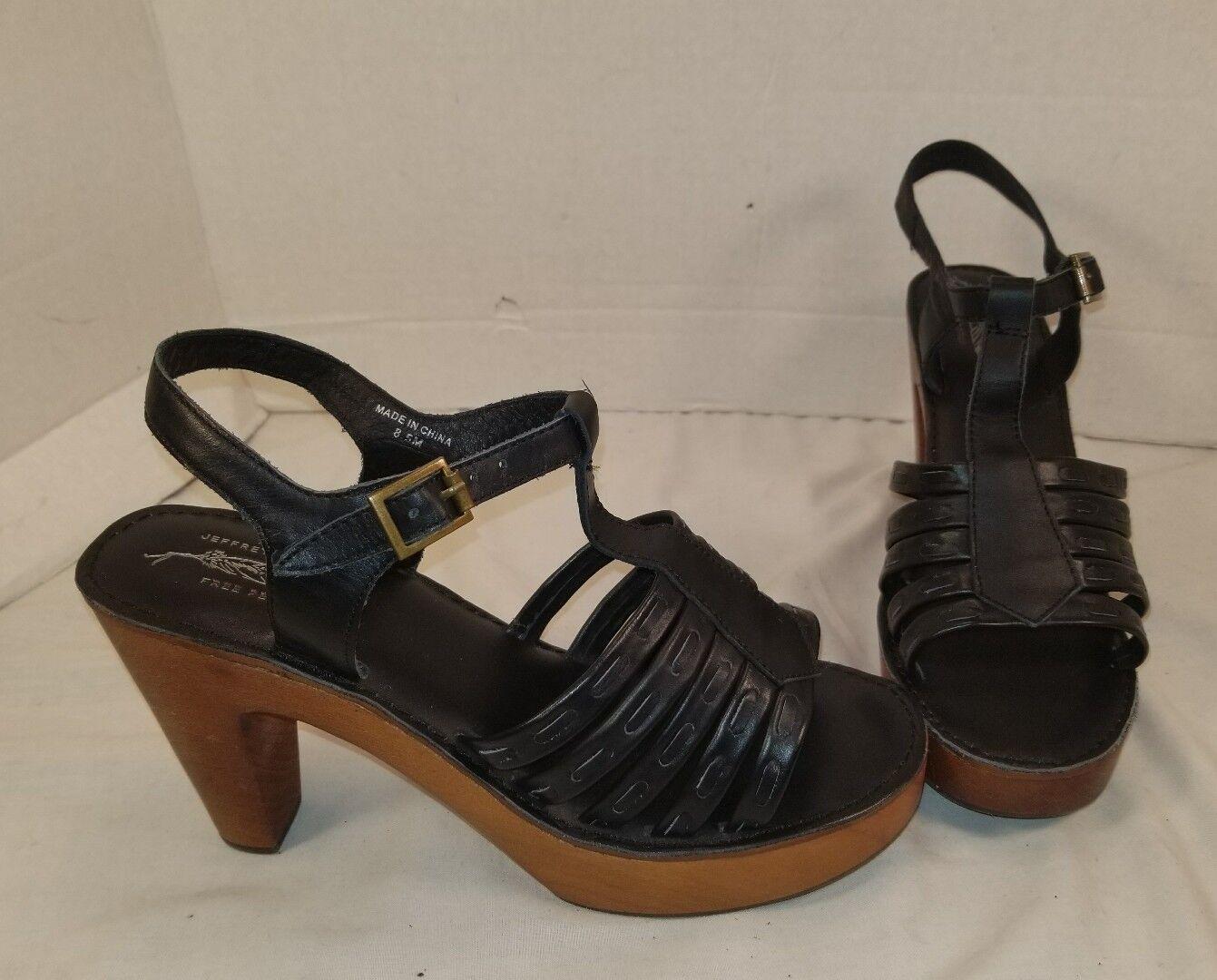 Nuevo libre la gente X Jeffrey Campbell Haven Negro Cuero Cuero Cuero Zuecos Zapatos EE. UU. 8.5  orden ahora disfrutar de gran descuento