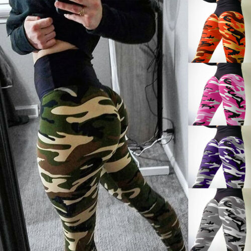 Women Camo Stretch Yoga Pants Athletic High Waist Leggings Fitness Trousers New