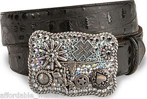 Nocona-BLACK-Leather-BELT-amp-Chunky-CHARM-BUCKLE-CRYSTAL-Horse-Rowel-Longhorn-82