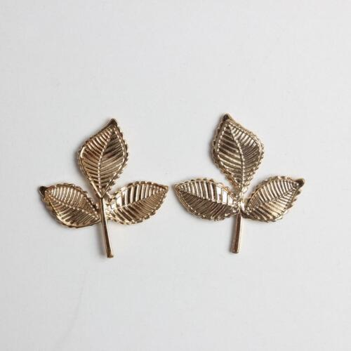 10x Alloy Leaves Embellishment Findings for Jewelry Making Crafts Gold 35mm