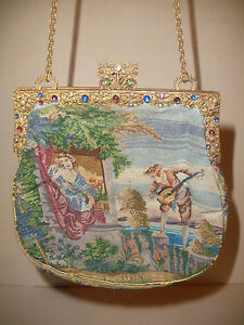ANTIQUE SCENIC NEEDLE PETIT POINT TAPESTRY PURSE JEWELED ...