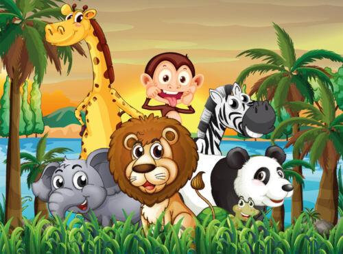 350x260cm-7 chemins de 50x260-Animaux Nappes Papier Peint-Jungle Animals 405 V