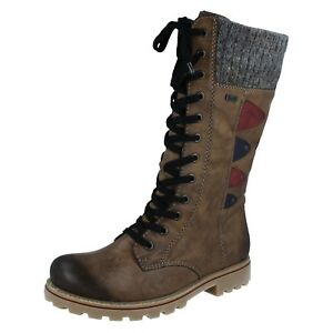 Calf Z1443 Brown Boots Ladies Rieker Combination Mid pwqvgE